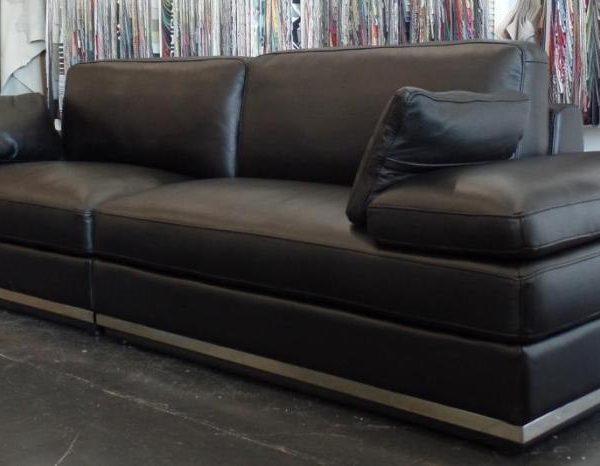 Long black leather designer lounge